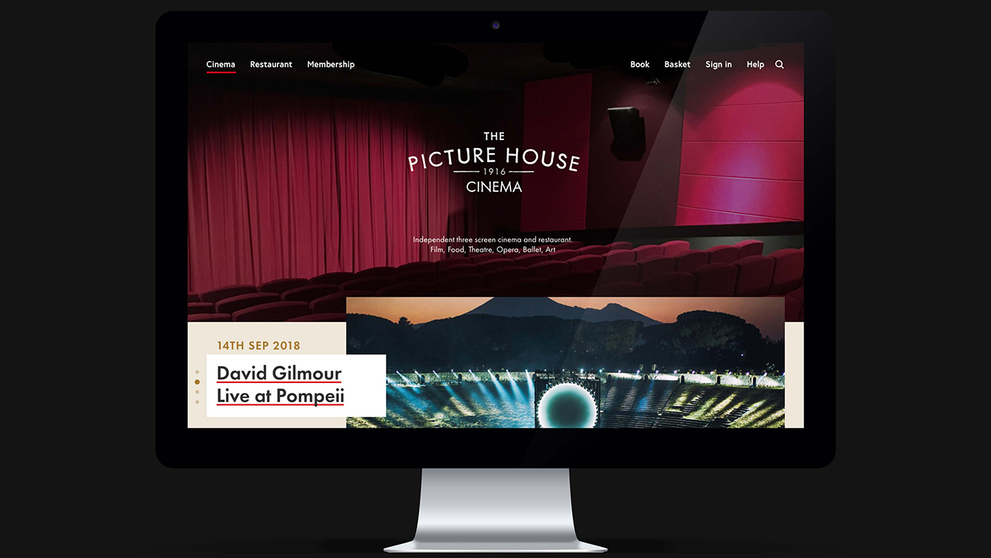 A screenshot of The Picture House homepage