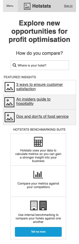 An early homepage wireframe for Hotstats.