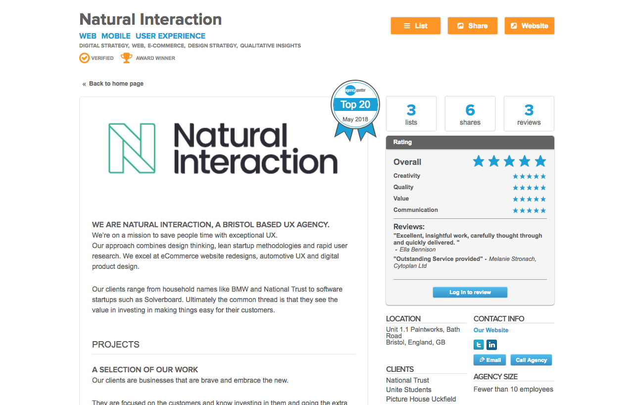Natural Interaction recognised  in Agency Spotter's UX and Mobile 2018 Global Top 20 lists