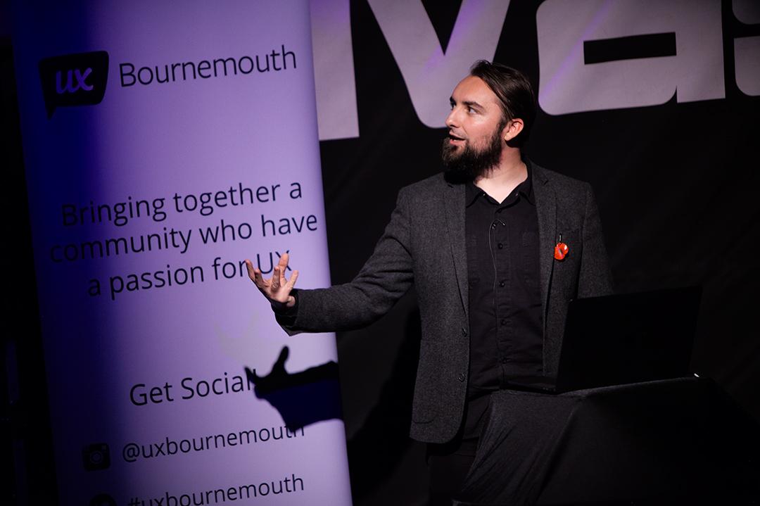 Adam talking at UX Bournemouth