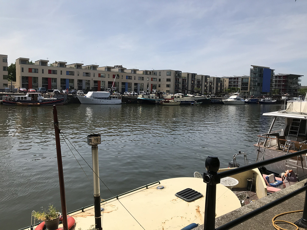 View along the Bristol harbourside