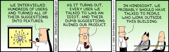 false user testing with Dilbert