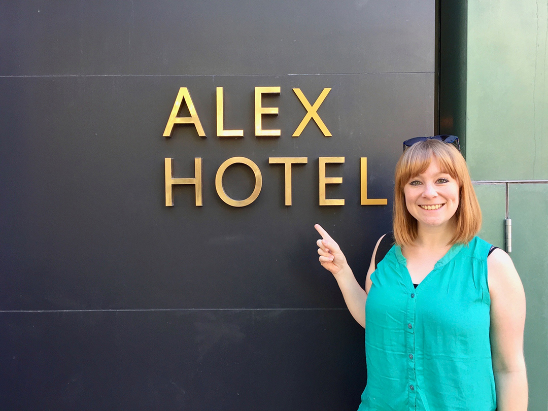 Alex Ryder next to Alex Hotel in Perth, Australia