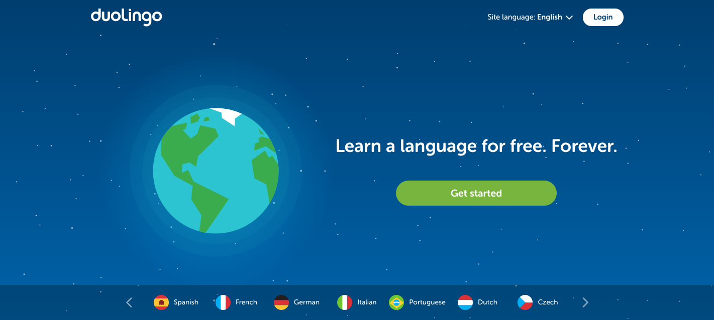 The opening screen on Duolingo, a language learning app