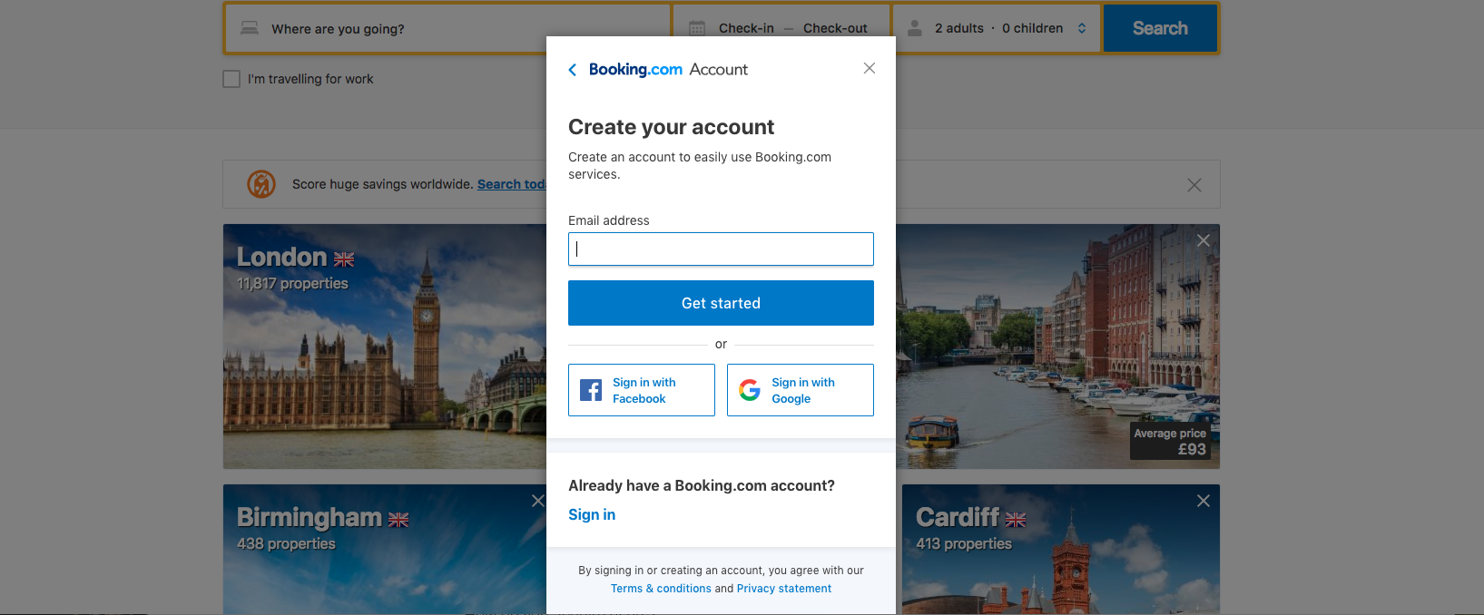 The create an account screen for booking.com