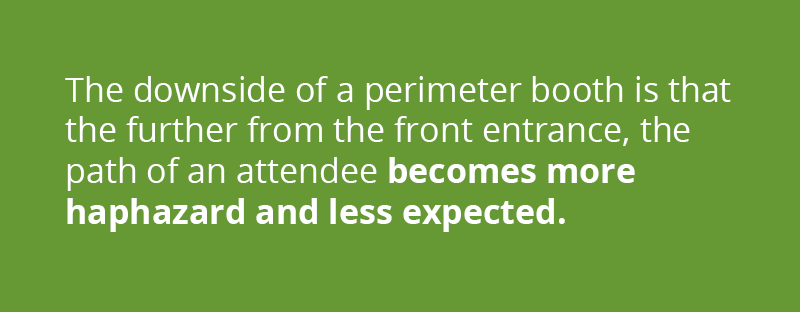 The downside of a perimeter booth is that the further from the front entrance, the path of the expo attendee becomes more haphazard and less expected.