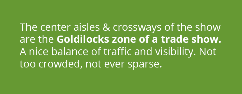 The center aisles and crossways of the show are the Goldilocks zone of any trade show. A nice balance of strong traffic and high visibility. Not over-crowded, not ever sparse.