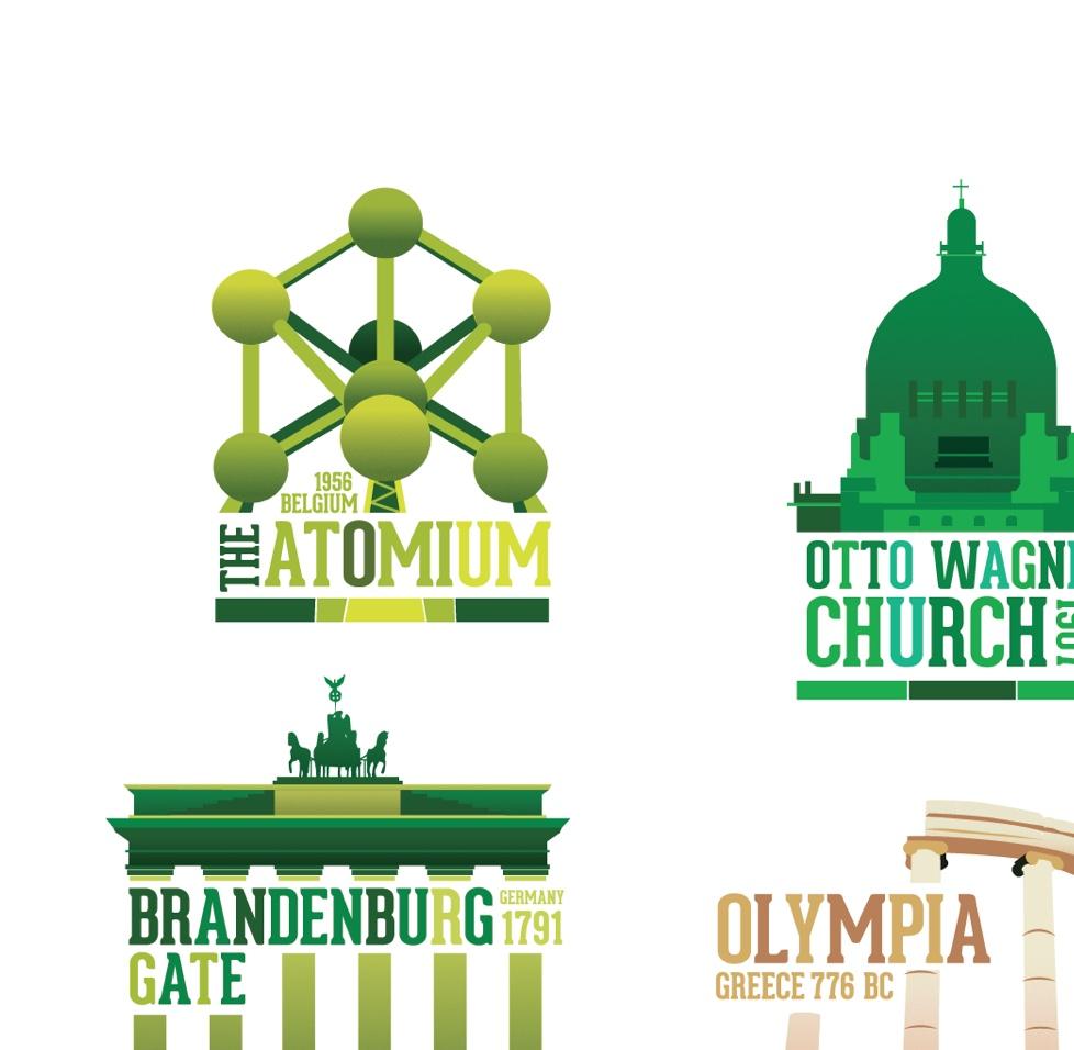 Illustration of different European landmarks