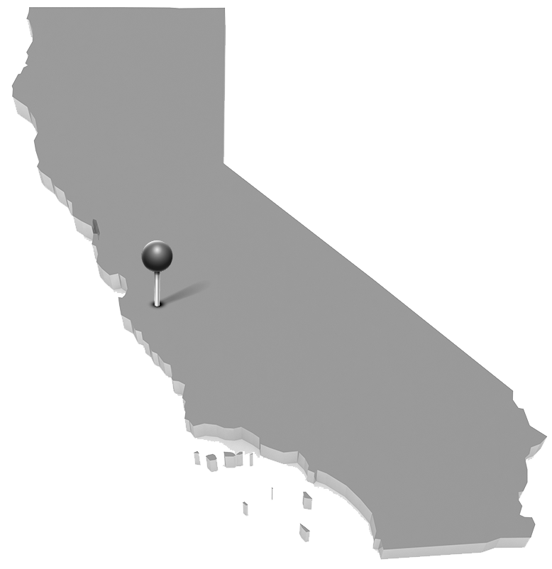 Drawing of California with a pin in San Joaquin Valley
