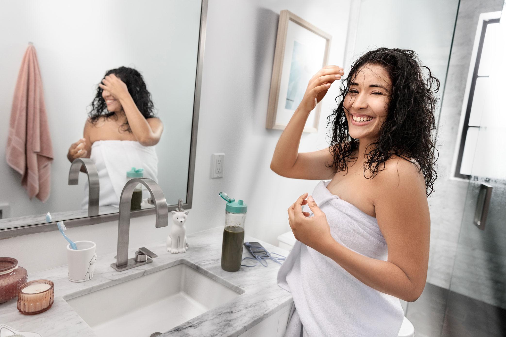 Woman Wrapped in Premium Bath Towel