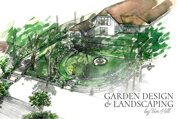Screenshot of Garden Design Website with watercolour garden picture