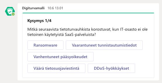 Digiturvamalli-sovelluksen Teams-botti muistuttaa automaattisesti henkilöstöä ohjeistaan