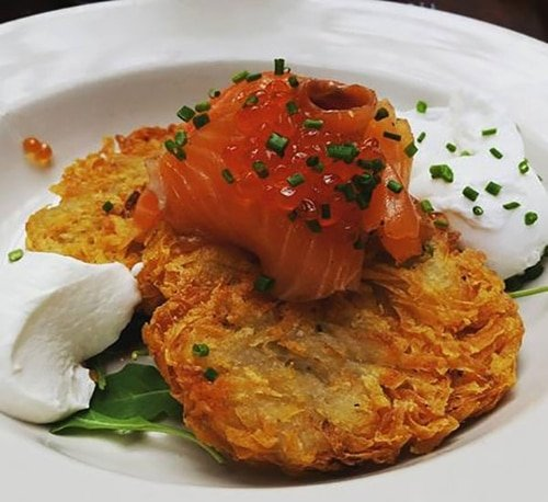 The Aristocrat-Potato Pancake, Salmon Gravlax, Poached Egg, Salmon Caviar