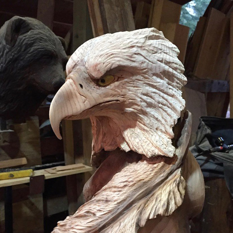 Wood bald eagle carving in progress