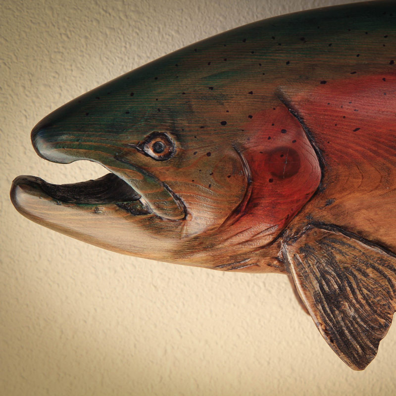 Rainbow trout wood carving