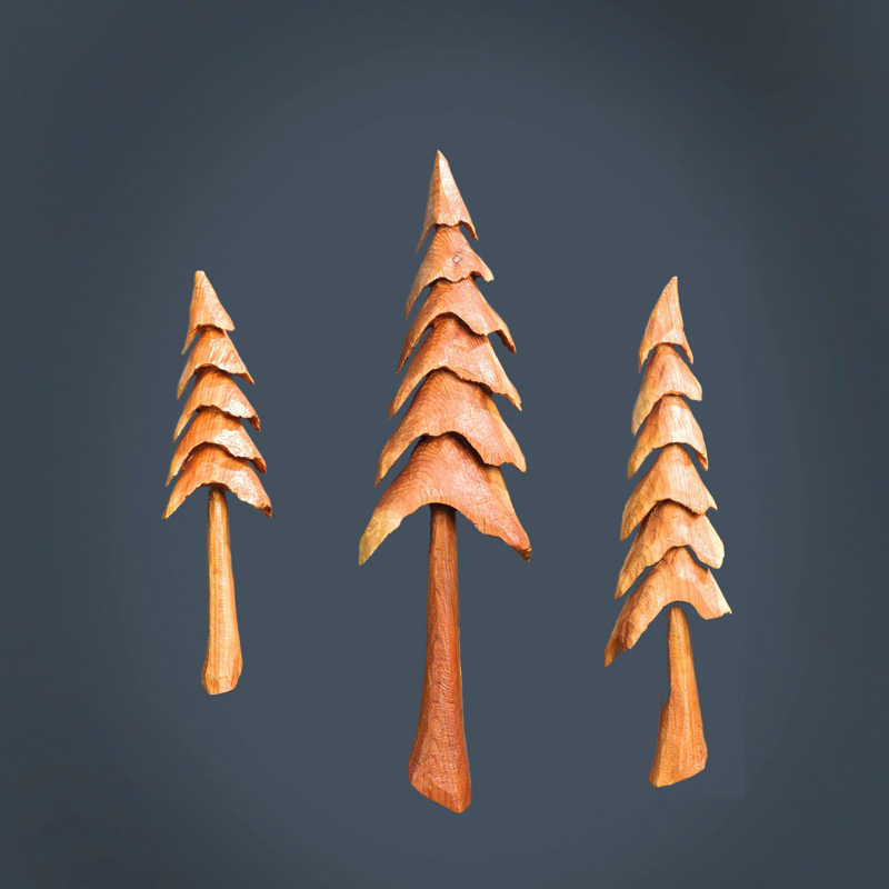 Carved wooden trees
