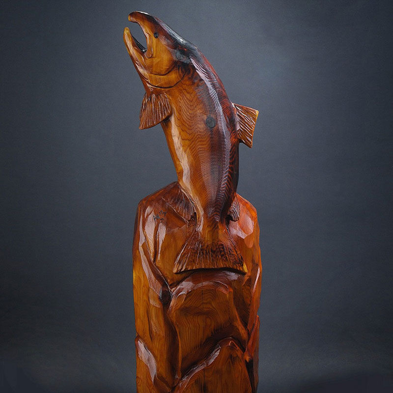 Carved Chinook Salmon jumping