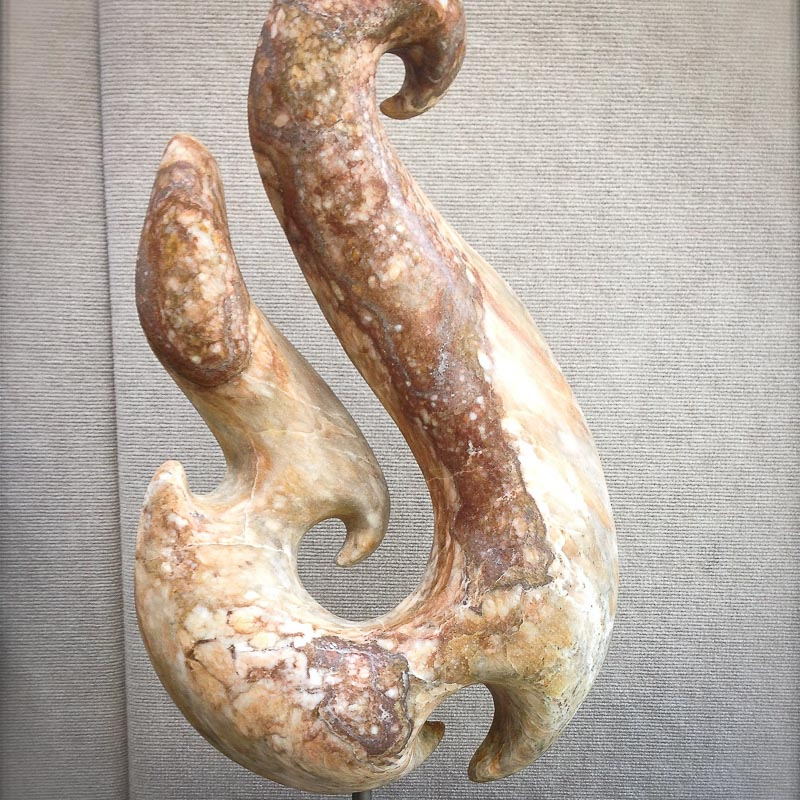 Alabaster Stone Sculpture in the shape of a Maori Fish Hook