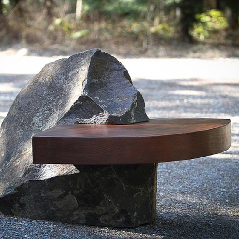 basalt stone bench rock seating stone outdoor
