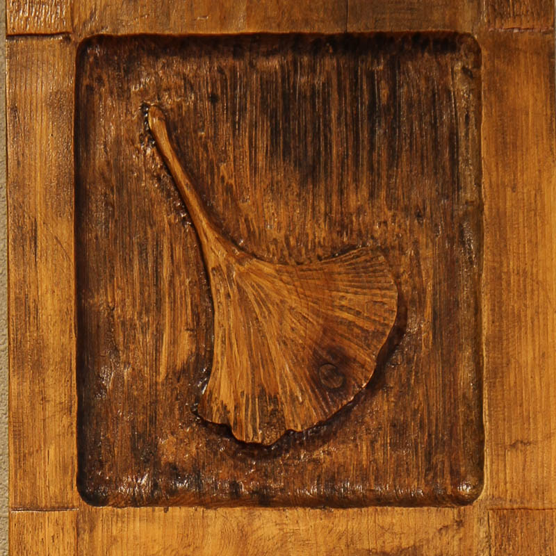 wood carving leaves relief wall art sculpture