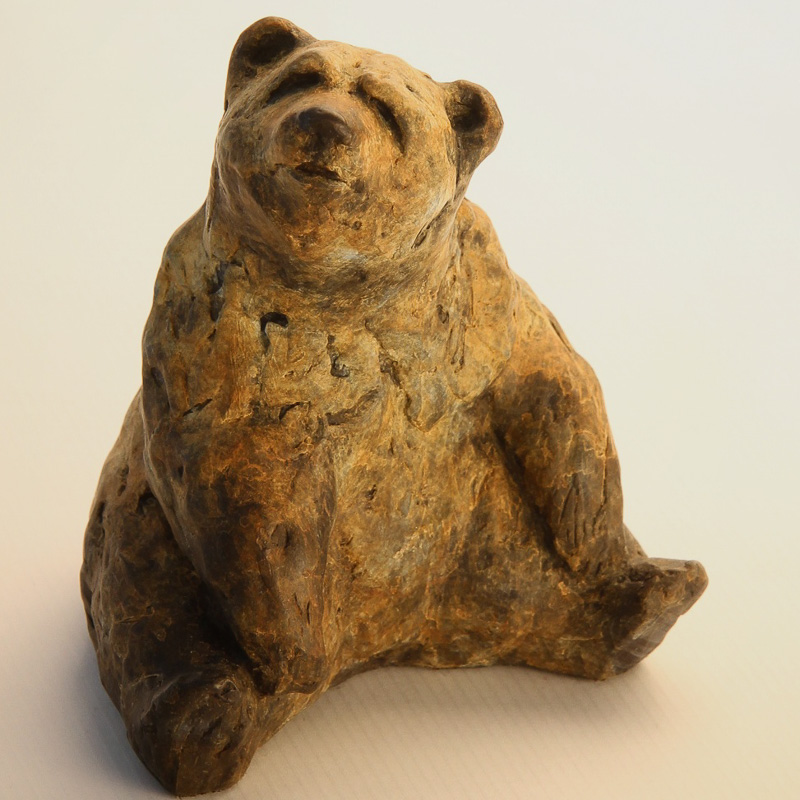 Little bear cub bronze sculpture