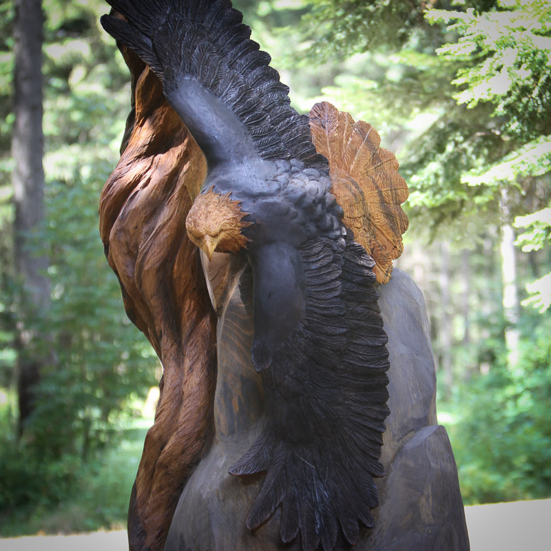 Life size american bald eagle wood carved sculpture