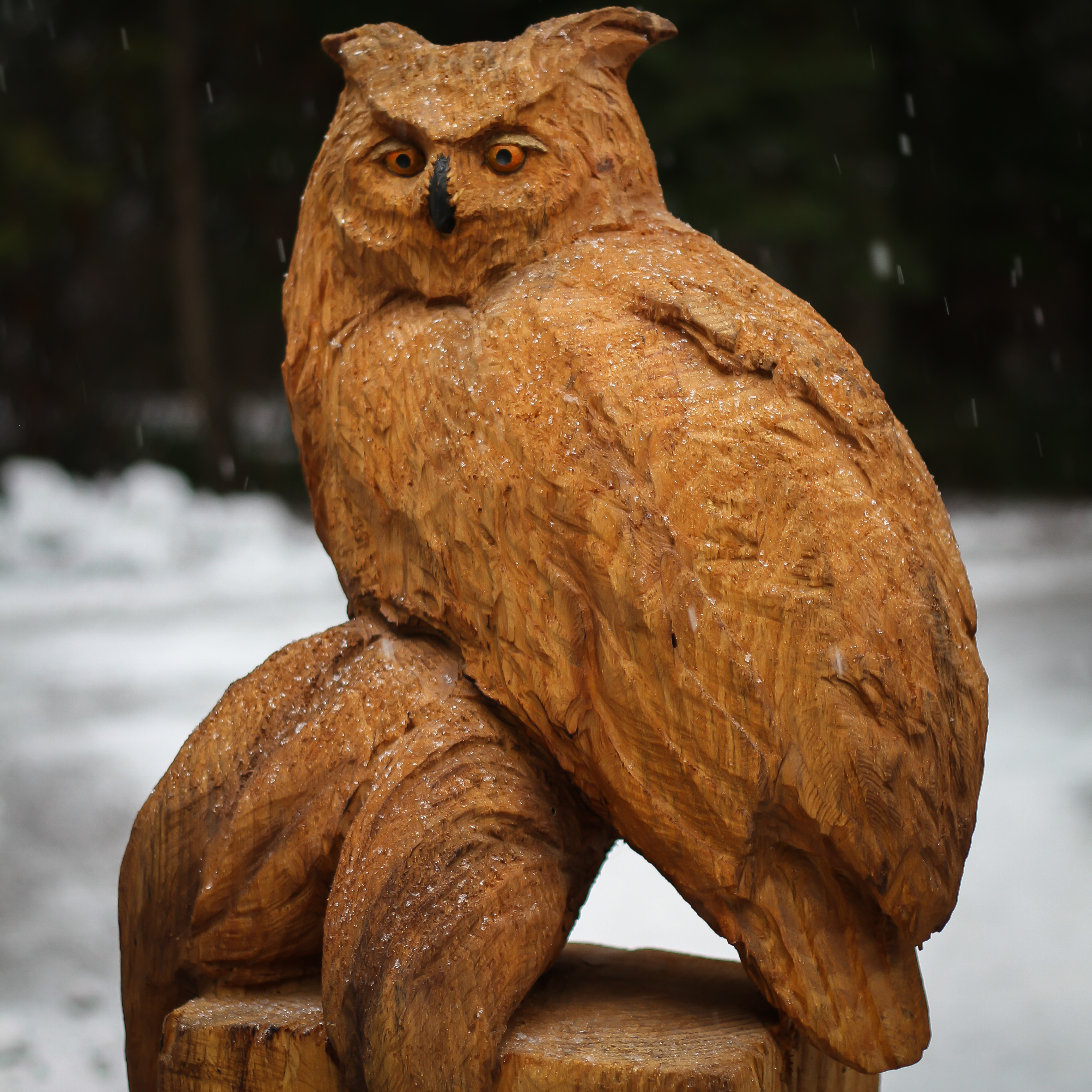 Chainsaw carving owl woodcarving barn owl garden sculpture