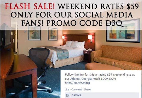 Atlanta hotel facebook promotion - running Hetras Cloud Based Hotel Management Software