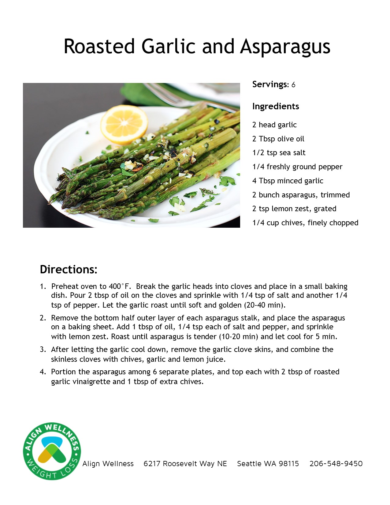 Roasted Garlic and Asparagus Ideal Protein Recipe