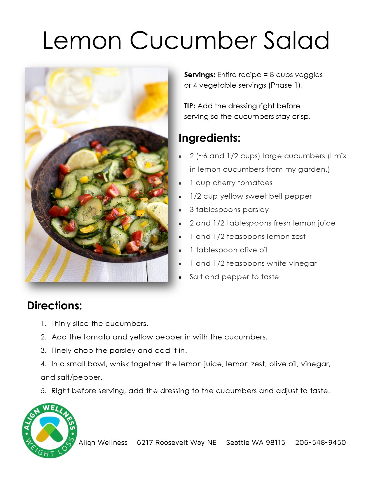 Lemon Cucumber Salad Ideal Protein Recipe