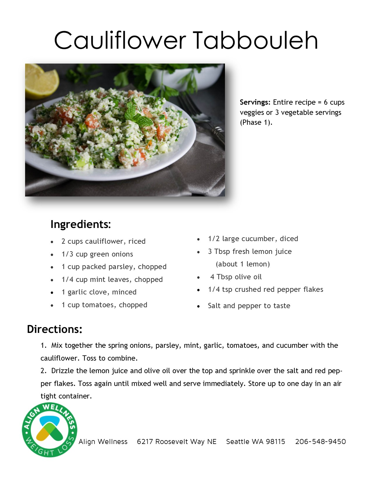 Cauliflower Tabbouleh Ideal Protein Recipe
