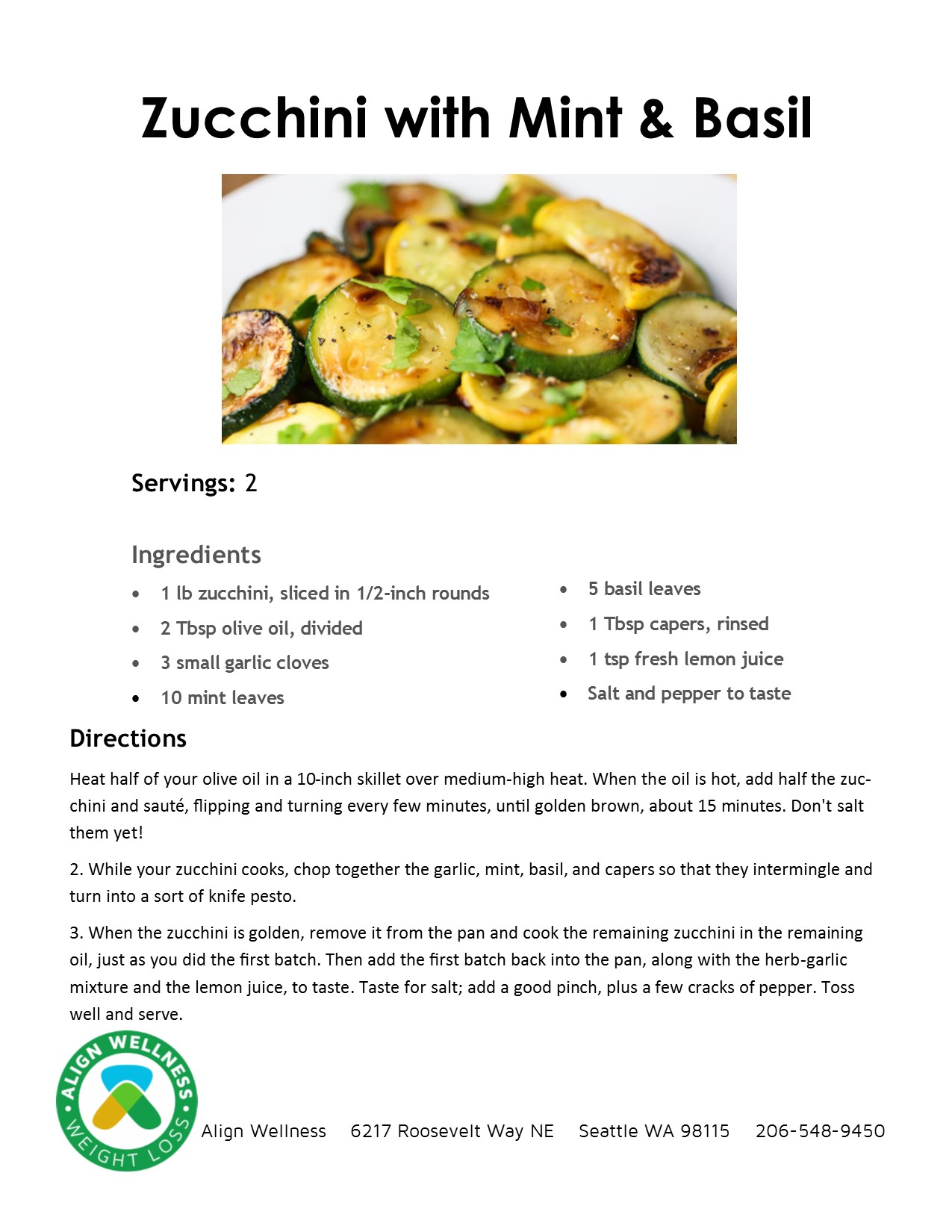 Zucchini with Mint and Basil Ideal Protein Recipe