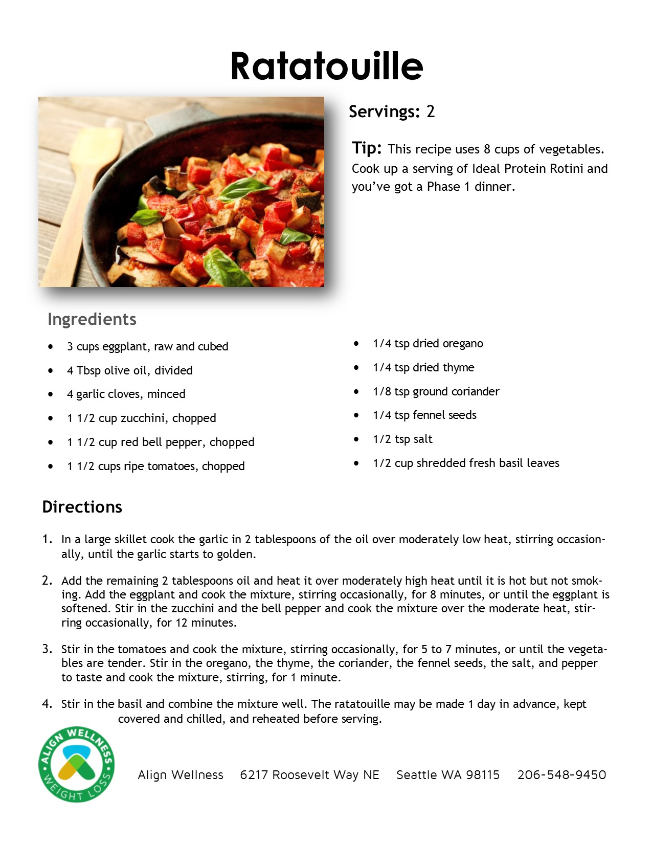 Ratatouille Ideal Protein Recipe