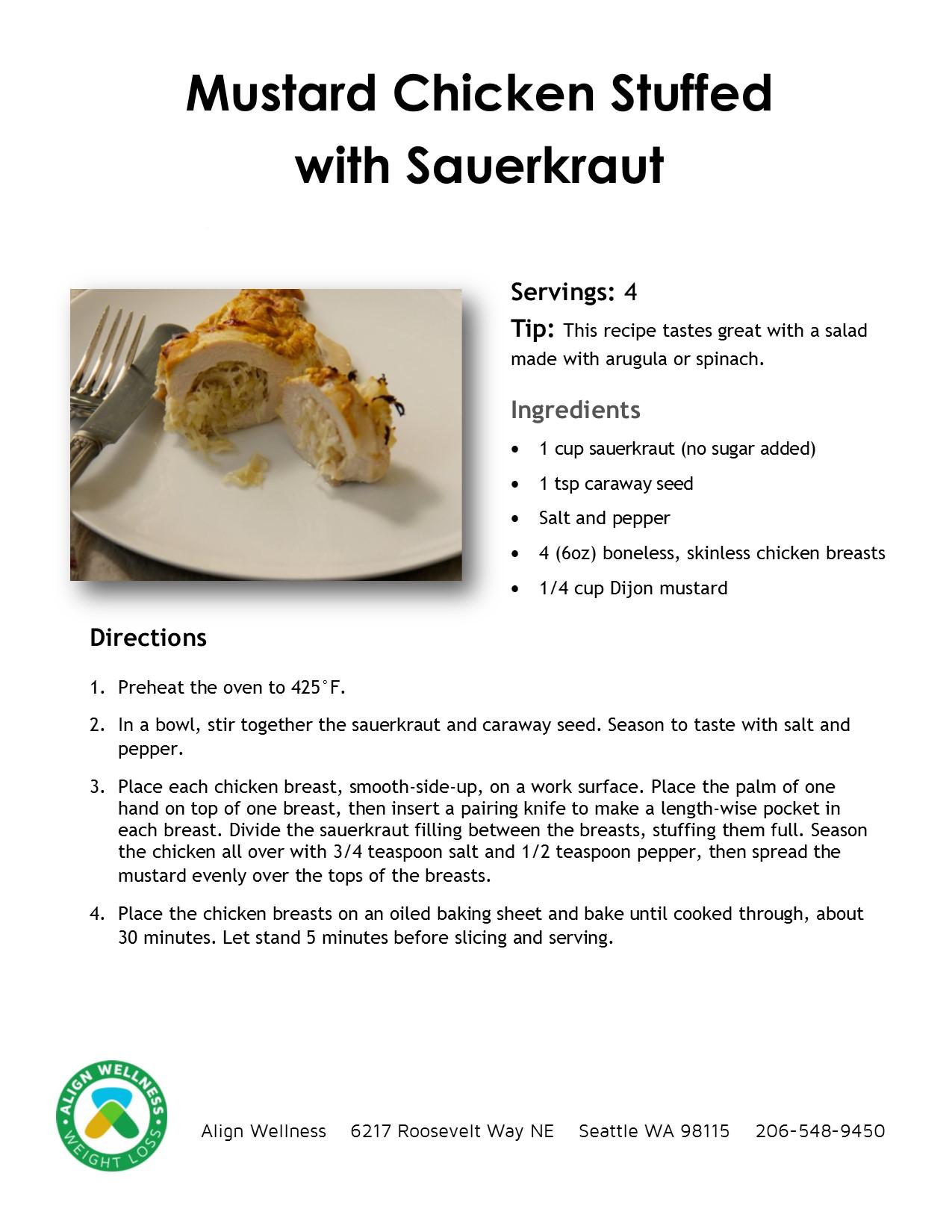 Mustard Chicken Stuffed with Sauerkraut Ideal Protein Recipe