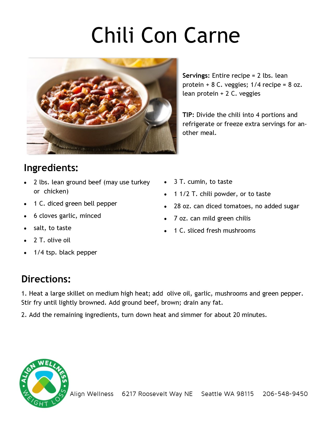 Chili Con Carne Ideal Protein Recipe