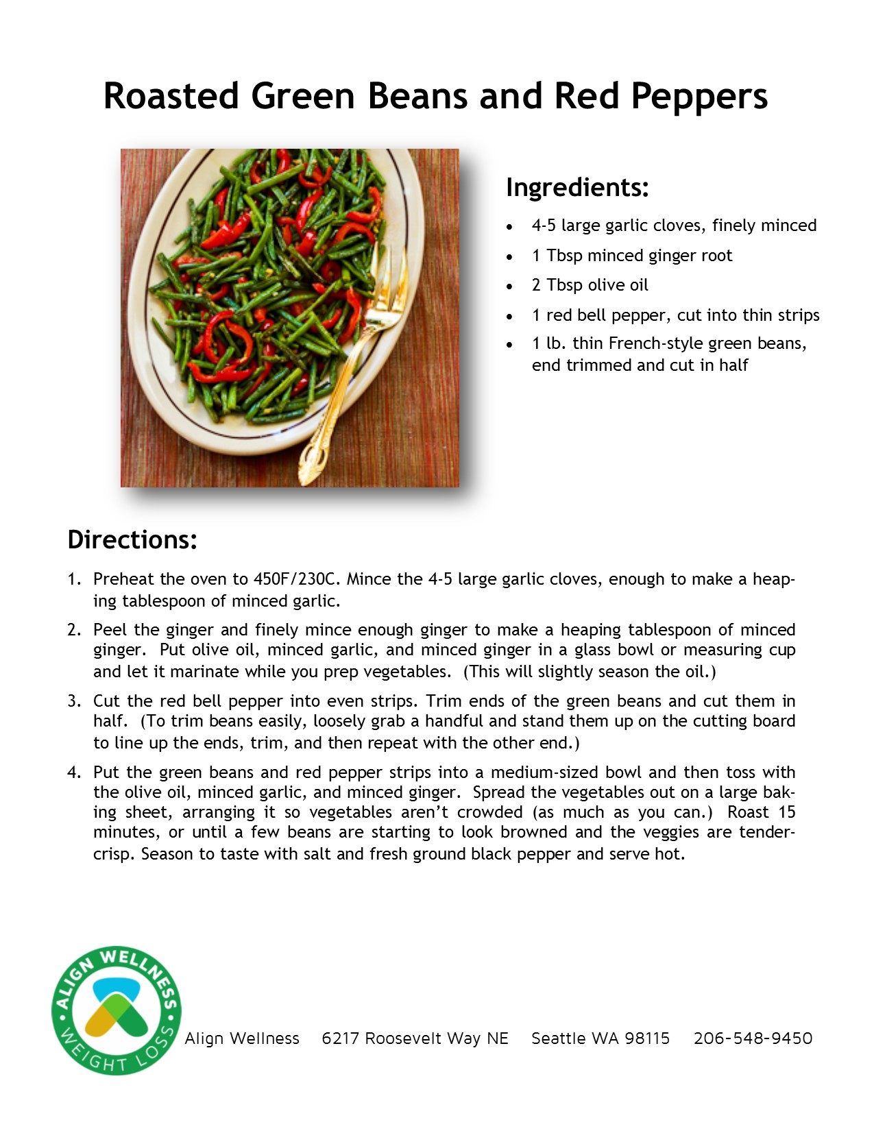 Roasted Green Beans and Red Peppers Ideal Protein Recipe