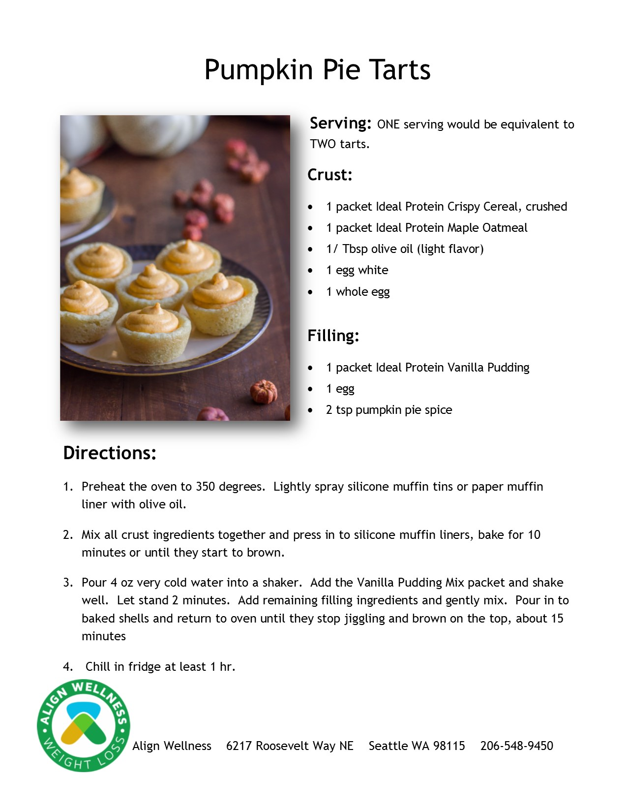 Pumpkin Pie Tarts Ideal Protein Recipe