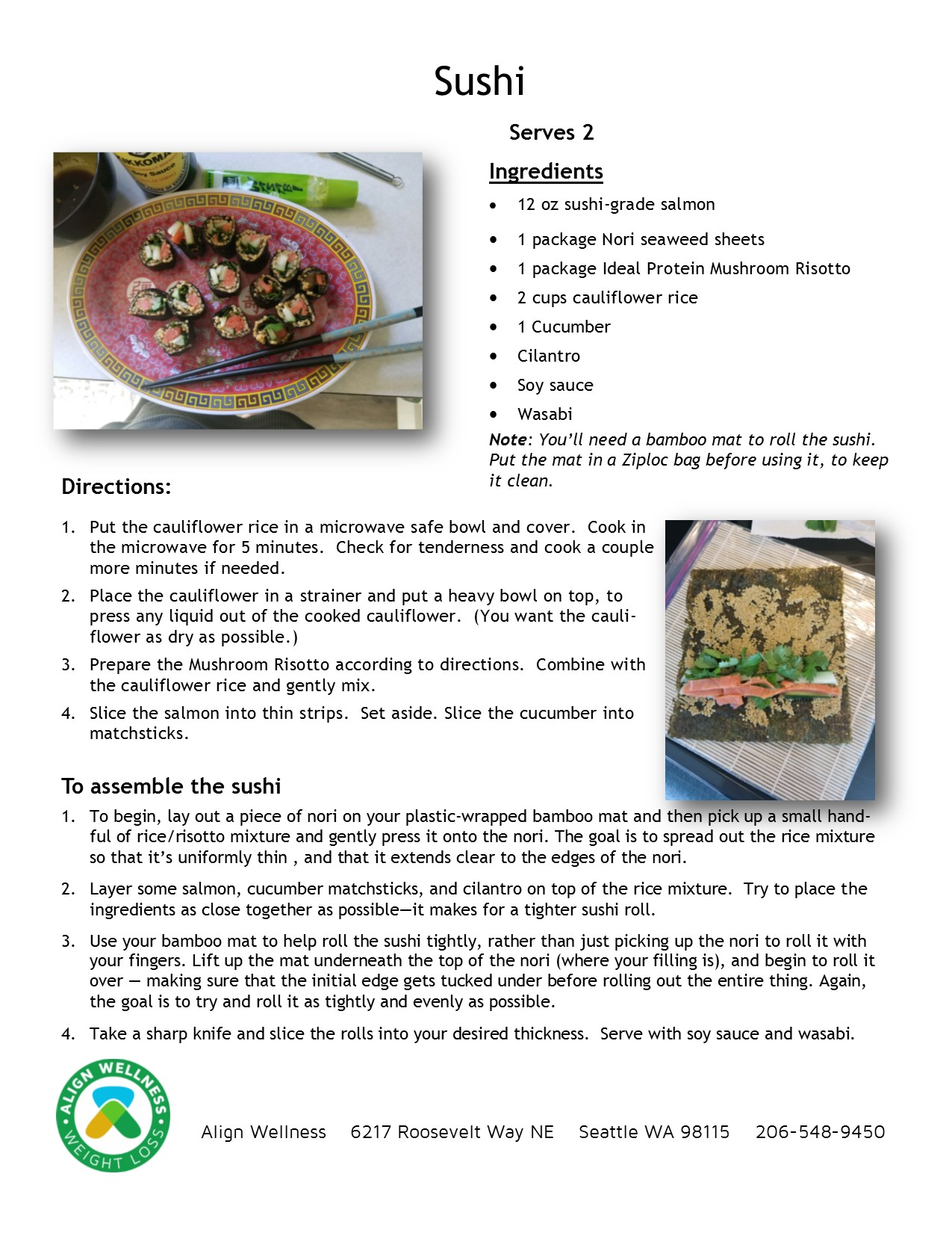Sushi Ideal Protein Recipe