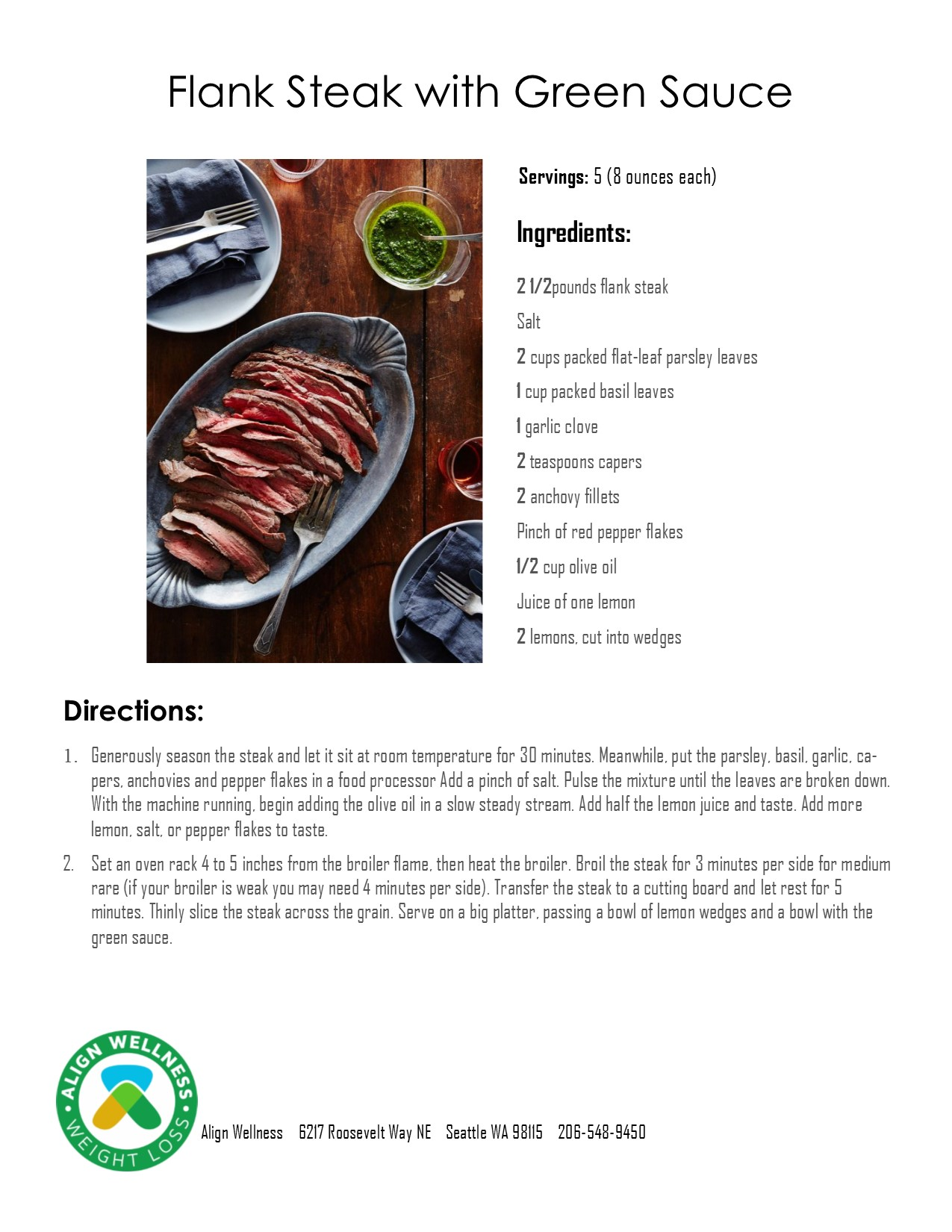 Flank Steak with Green Sauce Ideal Protein Recipe