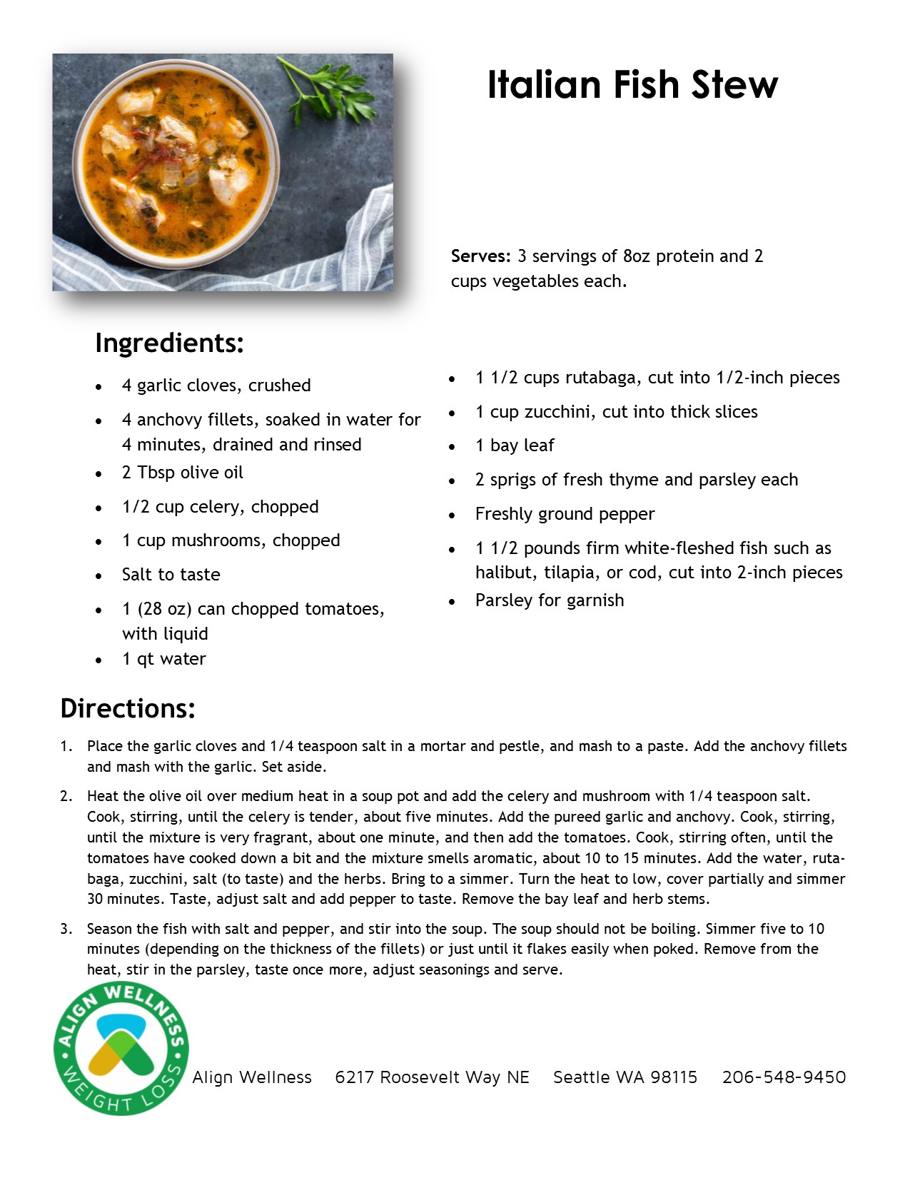 Italian Fish Stew Ideal Protein Recipe