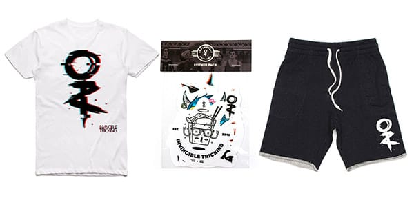 invincible tshirt, sticker pack, and shorts