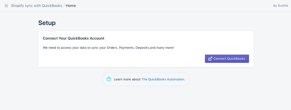 Shopify documentation with QuickBooks Online