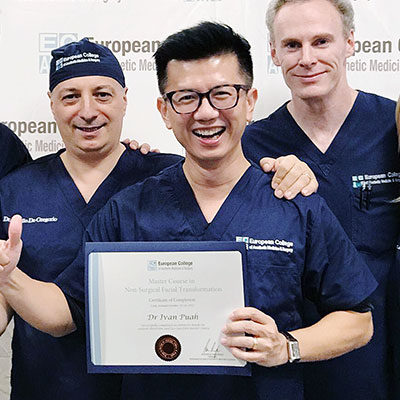"Successful completion of ""Master Course in Non-surgical Facial Transformation - Intensive Hands-on Cadaver Dissection & Live Injection Master Course"" conducted by European College Of Aesthetic Medicine & Surgery."