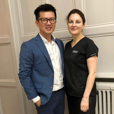 Dr. Ivan Puah with his wonderful trainer, Dr. Kate Goldie during his training in UK.