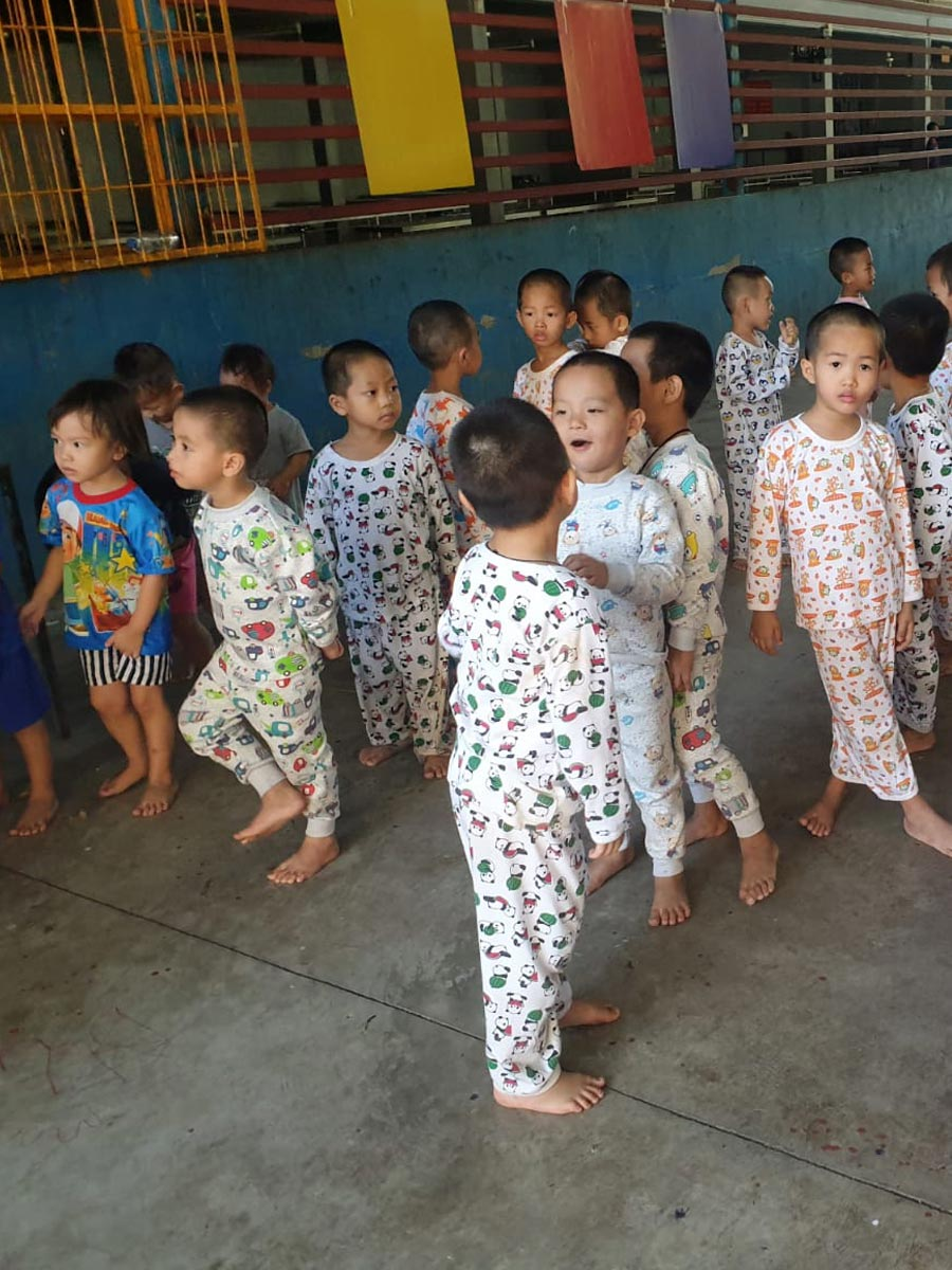 Located in scorching Chiang Mai, Thailand, we supplied comfortable cotton long sleeve pyjamas to prevent them from mosquito bites and insect stings.