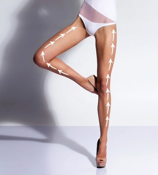 Seductive legs with arrows over isolated background. Fat removal concept.