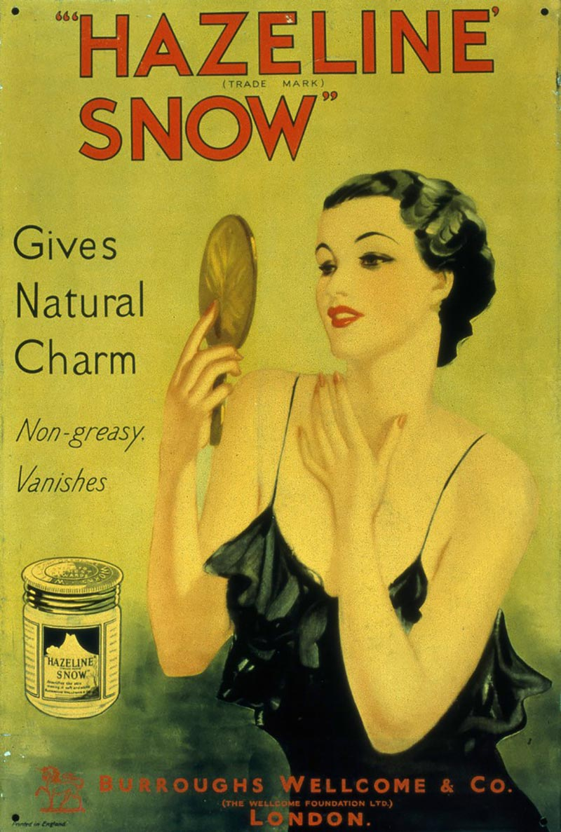 An undated advertisement for Hazeline Snow from Science Museum Group in the United Kingdom | Photo source: Wellcome Foundation Archives
