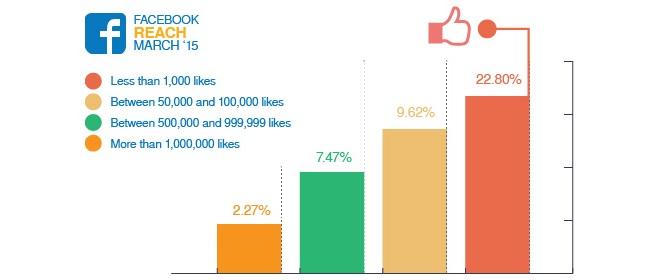 Gráfico mostrando evolução dos likes no Facebook