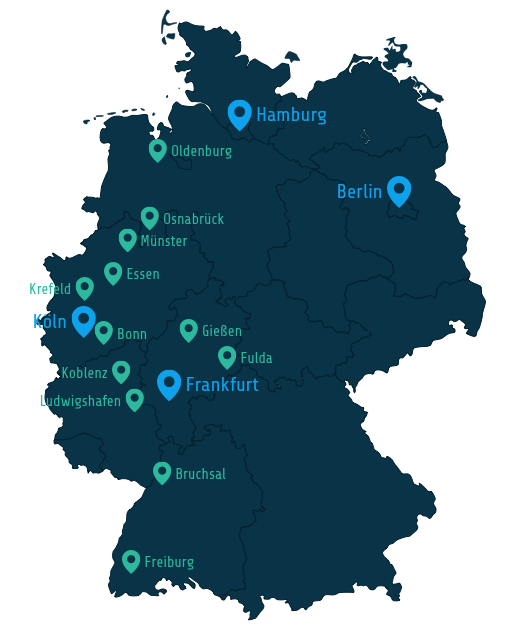 Map of customers in germany