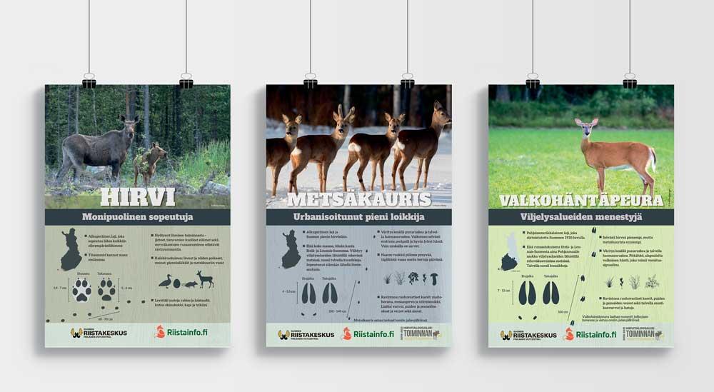 Suomen riistakeskus hirvieläin-julisteet